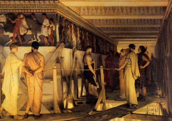 Alma-Tadema, Sir Lawrence: Pheidias and the Frieze of the Parthenon, Athens, 1868. Fine Art Print/Poster. Sizes: A4/A3/A2/A1 (00655)